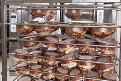 Pastry Chef, takes away the panettone. From the oven freshly cooked Royalty Free Stock Photos