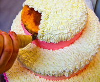 Pastry chef to work for wedding cake Royalty Free Stock Photo
