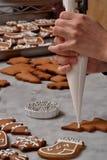 Fresh christmas cookies preparation. Royalty Free Stock Image