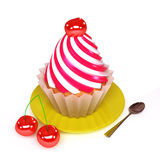 Pastry. Cherry pastry with cream, spoon and cheries Royalty Free Stock Image