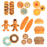 Pastry Collection In Cartoon Slyle Stock Photos