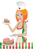 Pastry-cook. Cute girl in a chef's hat cuts the cake Stock Image