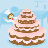 Pastry-cook. The woman and large pie, illustration Stock Images