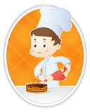 Pastry-cook. With cake + simple background Royalty Free Stock Image