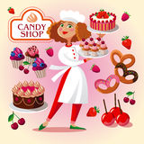 Pastry cook girl in the pastry shop. Royalty Free Stock Photos