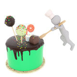 Pastry-cook and holiday cake Stock Photos
