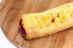 Pastry with corn flour and topped with peppers Royalty Free Stock Photo