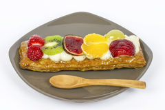 Pastry cream and fruits Royalty Free Stock Photos