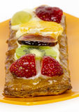 Pastry cream and fruits Stock Images
