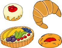 Pastry, croissants, fruit tart, bagel and jam-filled pastry Stock Photo