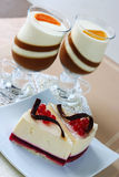 Pastry with a currant and panna cotta Stock Image