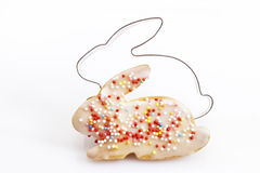 Pastry cutter, cookie with sugar granules, easter bunny shape Royalty Free Stock Images