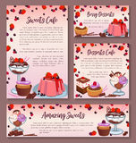 Pastry design templates set of dessert cakes. Desserts and pastry cakes vector posters and banners templates set for cafe bakery or patisserie. Sweets or tortes Stock Photos