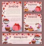 Pastry design templates set of dessert cakes Stock Photos