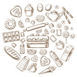 Pastry, dessert and bakery sketch icons. Pastry, dessert and bakery with various breads, cakes, baking ingredients and kitchen utensil. Sketched vector objects Stock Image