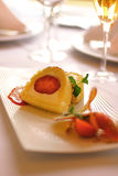 Pastry dessert filled with strawberries stock photo