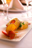 Pastry dessert filled with strawberries stock image