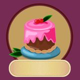 Pastry desserts or bakery shop vector emblem stock illustration