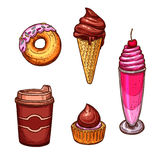 Pastry desserts and sweets vector sketch icons Royalty Free Stock Photography