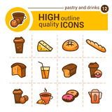 Pastry and drinks icons Stock Photography