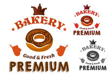 Pastry emblem with glazed doughnut and text Royalty Free Stock Image