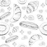 Pastry endless texture containing various elements stock illustration