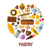 Pastry flat vector icons Royalty Free Stock Photos