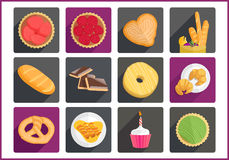 Pastry flat vector icons set Stock Images