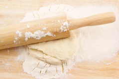 Pastry, flour and rolling pin Stock Photos
