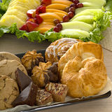 Pastry and fruit tray Royalty Free Stock Images