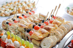 Pastry and fruit and vegetables canape ideas Stock Images