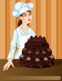 Pastry Girl. Girl pastry with chocolate cake Royalty Free Stock Photos