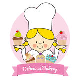 Pastry girl Stock Images
