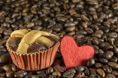 Pastry heart coffee Stock Images