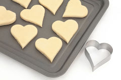 Pastry Heart Cookies and Cutter Stock Photo