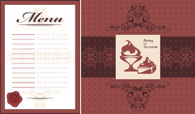 Pastry and ice cream. Menu card template and label for design. Illustration Stock Photography