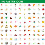 100 pastry icons set, cartoon style. 100 pastry icons set in cartoon style for any design vector illustration Stock Photography