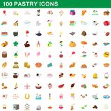 100 pastry icons set, cartoon style vector illustration
