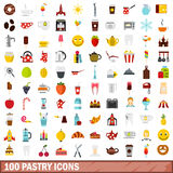 100 pastry icons set, flat style Royalty Free Stock Images
