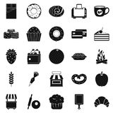 Pastry icons set, simple style Royalty Free Stock Photography