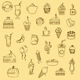 Pastry icons Royalty Free Stock Photos