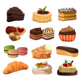 Pastry icons. A vector illustration of pastry icon sets Royalty Free Stock Photos