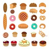 Pastry illustrations set. Bread and pie, muffins and cupcakes, cakes and buns Stock Image