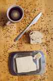 Pastry with knife coffe and butter Royalty Free Stock Photography
