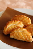 Pastry. Leaf shaped small pastries on a plate Stock Photo