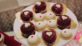 Pastry love homemade cupcakes on wooden table stock video footage
