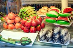 Pastry with marzipan in the form of fruit and fish. Typical Sicilian. Stock Photo