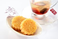 A pastry with mostly sweet fillings made for the Moon Festival, hence loosely translated as a moon cake or mung bean pastry. Royalty Free Stock Images