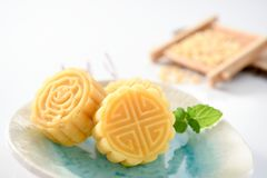 A pastry with mostly sweet fillings made for the Moon Festival, hence loosely translated as a moon cake. Or mung bean pastry Stock Photos