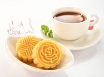 A pastry with mostly sweet fillings made for the Moon Festival, hence loosely translated as a moon cake. Or mung bean pastry royalty free stock image
